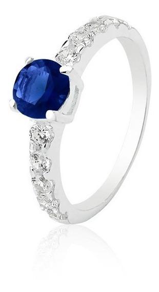 Anel Solitário De Prata Tiffany Azul Safira