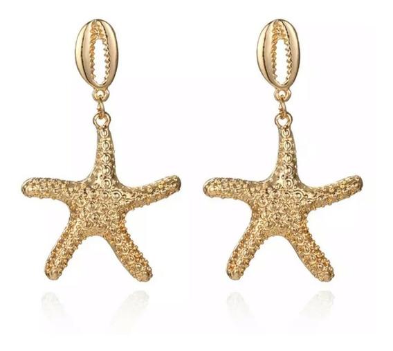Brinco Feminino Longo Estrela Do Mar Buzios Dourado Verão