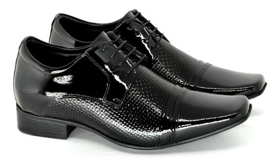 Sapato Masculino Altura Jota Pe Couro Verniz Preto +6,5cm