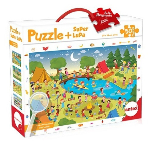 Imagen 1 de 3 de Puzzle 50 Piezas Resistentes Con Lupa - Rompecabezas Niños