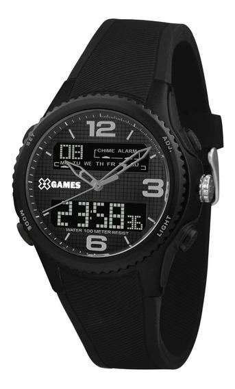 Relógio X-games Masculino Anadigi Xmppa282 Preto Negativo