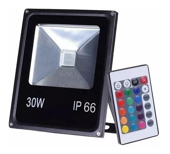 Refletor Holofote 30w Led Rgb Colorido C/ Controle + Forte