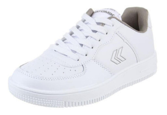 Zapatillas Colegial Atomik Cambridge Cordon Blanco Gris