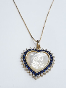 Colar Sagrado Coração De Jesus Madri Pérola Prata/ouro