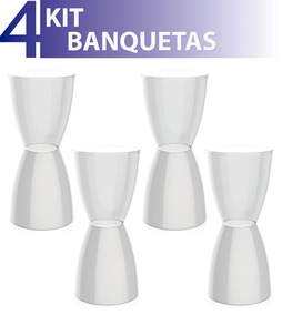 Kit 4 Banquetas Bery Assento Cristal Base Color Branco