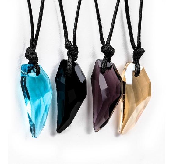 Colar Pedra Cristal Unissex Pingente Cordão Moda Fashion