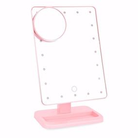 Espelho Para Maquiagem De 20 Leds Com 10x Ampliação Rosa