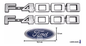 Emblemas Laterais F4000 + Ford - Até 1992 - Modelo Original