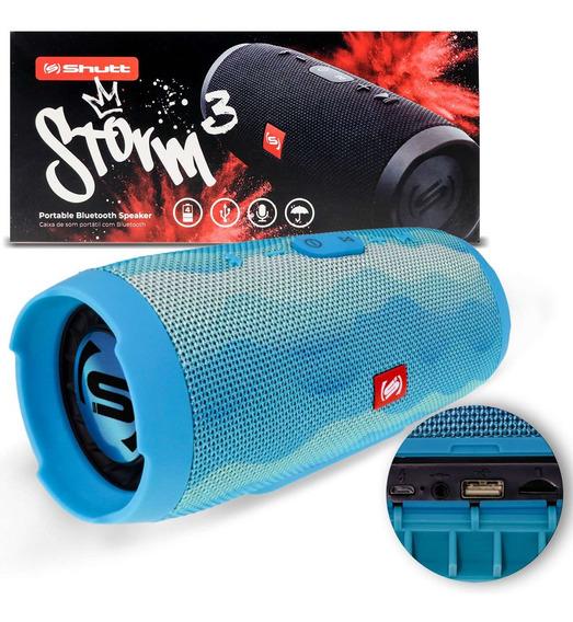 Caixa De Som Bluetooth Portátil 20w Storm 3 Shutt Azul Ondas