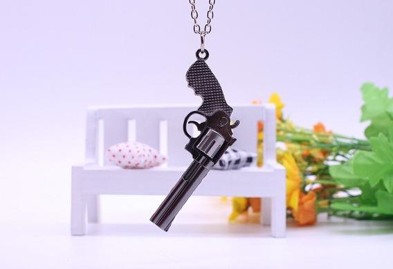 Cordão Colar Pingente 38 Arma Pistola Preto Frete Grátis