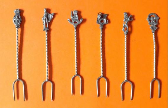 Pinchos Para Copetin - Metal Plateado - Muy Antiguos