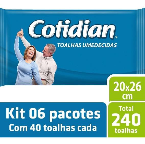 Kit Toalha Umedecida Cotidian Adulto 6 Pacotes - 240 Unids