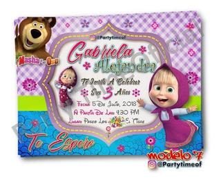 Tarjetas Invitaciones Masha Y Oso Recuerdos Cotillón Y