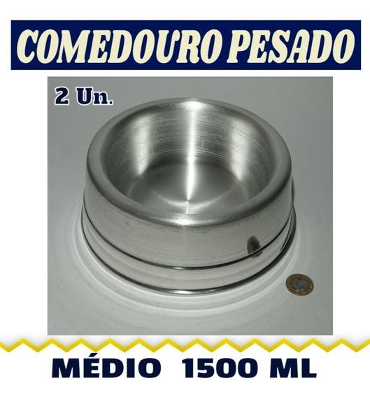 Comedouro Duplo Pesado Para Cães - Médio - 1500 Ml