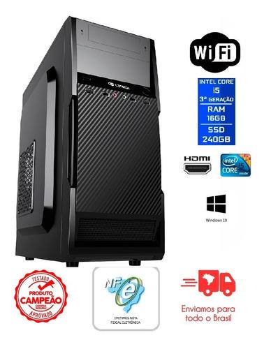 Imagem 1 de 5 de Pc Intel Core I5 3ª Ger/16gb Ddr3/240gb Ssd/gab/font/gravdvd