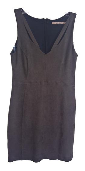 Vestido Suede Midi Tubinho Recorte Decote V Shoulder 38 P