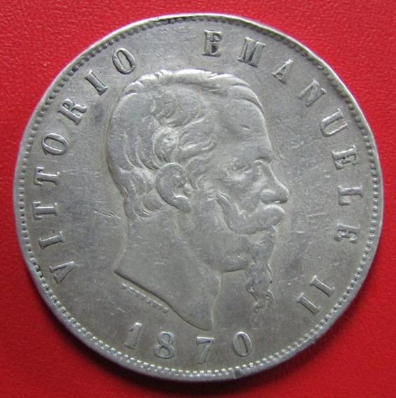 Italia Moneda Plata 5 Liras 1870 M Bn Vf Vittorio Emanuele