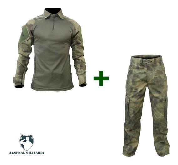 Farda Tática Combat Shirt Atcs Fg + Calça Camuflada Airsoft
