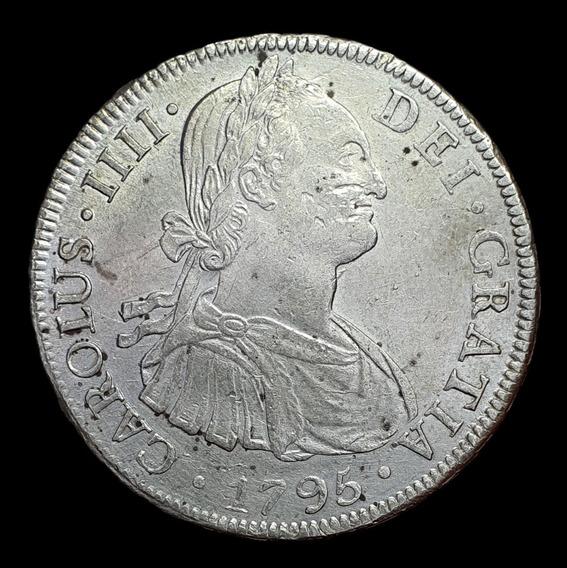 Ch C / Potosí, Carlos   V - 8 Reales 1795 Plata Cj#76.7.3