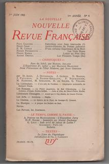 Nouvelle Revue Française Nº6. Blanchot, René Char (1953)