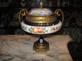 Antiguo Potich De Porcelana Y Bronce Frances Sevres