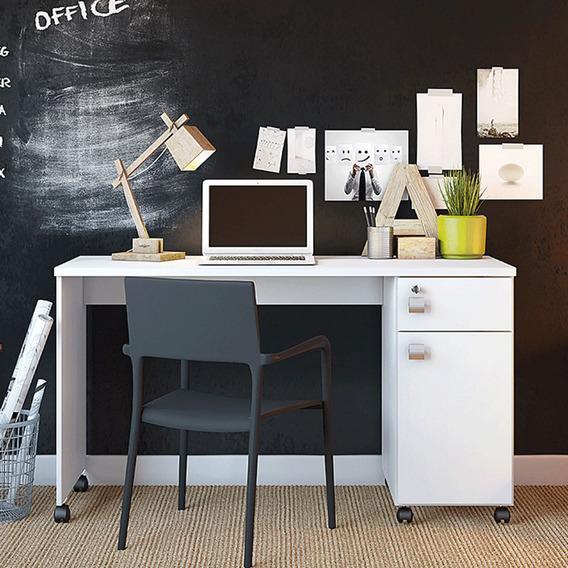 Mesa Escrivaninha Computador Malta 1 Porta 1 Gaveta Branca