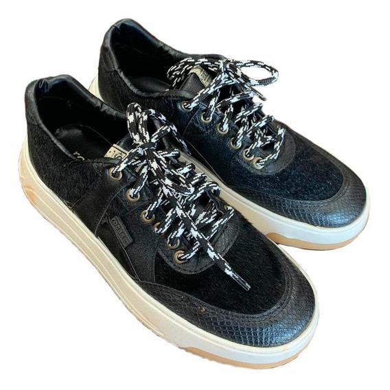 Zapatilla Mujer Sneakers Eco Cuero Rocas Retro Invierno 2020