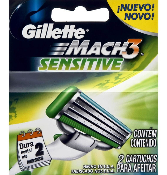 Repuestos Gillette Mach 3 Sensitive ( 2 Cartuchos )