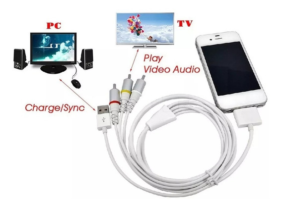 Cabo Rca Para iPad / iPod / iPhone - 3 Rca + Usb
