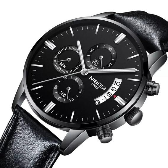 Relógio Nibosi Masculino Original Luxo Funcional Couro