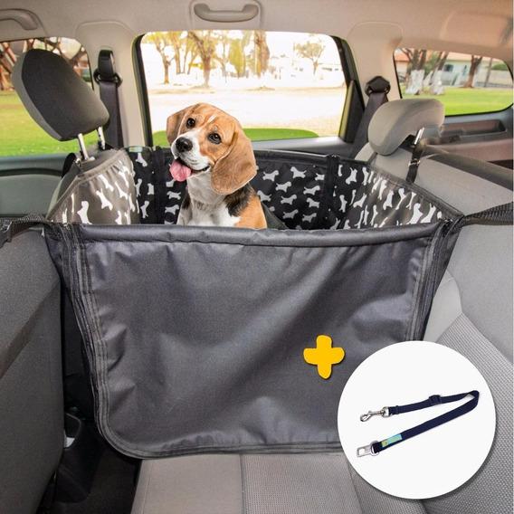 Capa Pet Impermeável Plus 75cm 2 Assentos Cães Carro + Guia