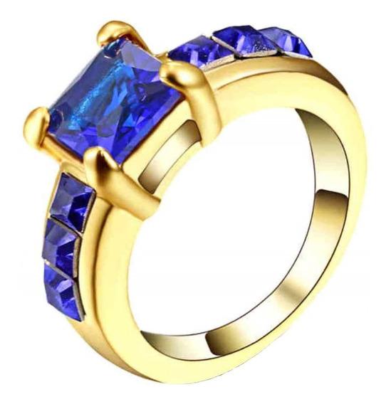 Anel Feminino Formatura Curso Pedra Azul Safira 118
