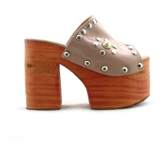 Zueco Mujer Zapato Plataforma Madera Savage Charol Art: Luna