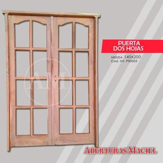 Puerta De Dos Hojas De Algarrobo Exterior 140 O 150 De Ancho
