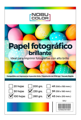 Papel Foto Glossy A5 148 X 210 Mm. 230 Gr. 100 Hojas