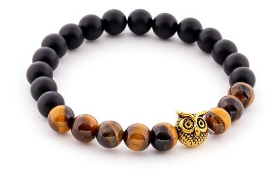 Pulsera Unisex Thai Golden Owl Black And Brown