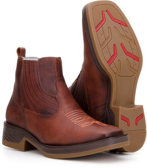 Bota Botina Texana Masculina Country Confort Couro 4country