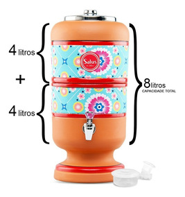 Filtro De Barro Para Água 8 Litros Turquesa 1 Vela, Boia 8l