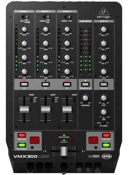 Mixer Behringer Pro Mixer Vmx300usb 3 Ch - 12x Frete Grátis