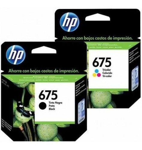 Combo Cartucho Hp 675 Negro Y Color Original Capacidad Std