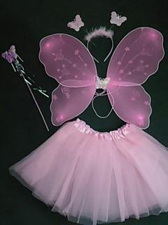 Fantasia Infantil Borboleta Rosa Bebê Tiara Varinha Asa Saia