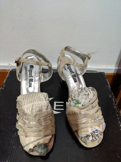 Zapatos Y Cartera/ Clutch En Conjunto Reptil