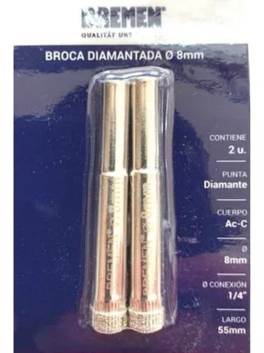 Imagen 1 de 7 de Broca Diamantada Porcelanato Bremen 8 Mm 7537 X 2 Unidad