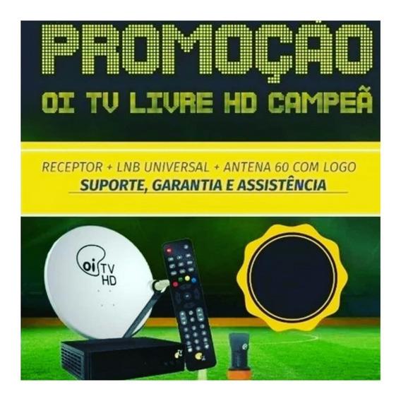 2 Receptor Oi Tv Livre Hd Antena 60cm + 33m Fios + Lnb Duplo