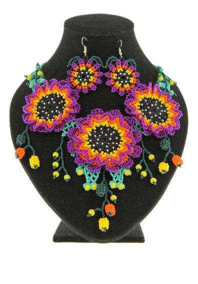 Collar 3 Flor De Chaquira Artesanal