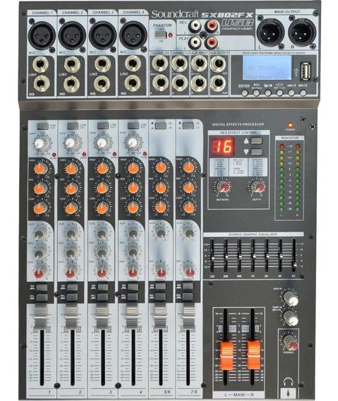 Mesa De Som Analógica Soundcraft Sx802fx Usb 8 Canais