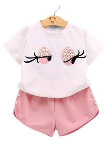 Camisa Blusa Short Infantil 2 Peças Conjunto Branco E Rosa