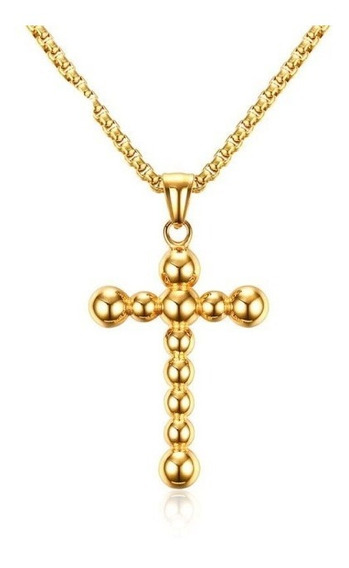 Colar Masculino Cruz Crucifixo Maciço Banhado Ouro 18k Top