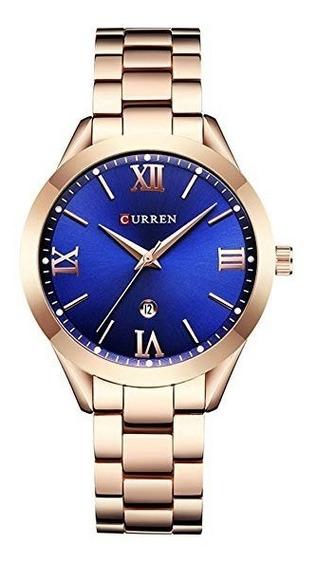 Relógio Feminino Curren 9007 Casul Rose Blue Pronta Entrega
