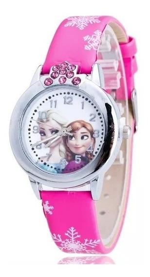 Relógio Frozen Princesa Anna E Elsa Moda Menina